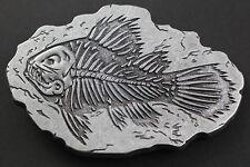 DARK FOSSIL SKELETON FISH GREY BELT BUCKLE METAL UK