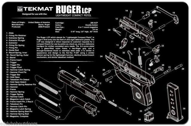 Ruger LCP 380 Armorers Gun Cleaning Bench Mat Exploded View ...