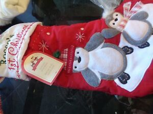Pottery Barn Kids Quilted Penguins Christmas Stocking Mono