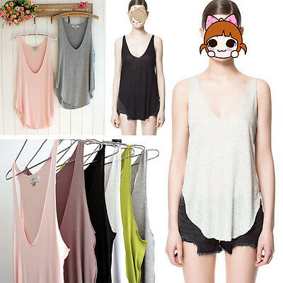 1pc Fashion Loose Casual Sleeveless V Neck Tank Tops T-Shirt Vest Tops Hot