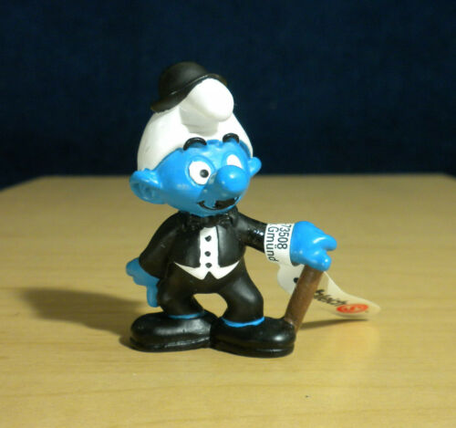 Smurfs 20716 Charlie Chaplin Smurf Movie Actor Figure Vintage Toy PVC Figurine