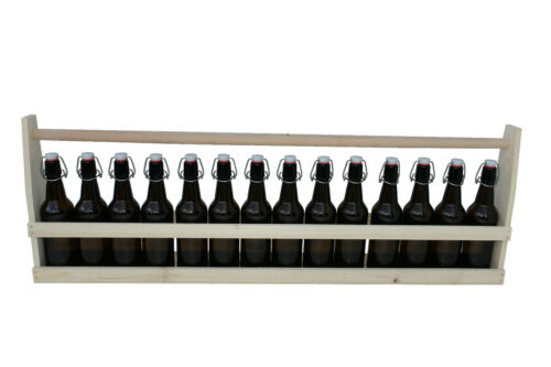 1 Meter Bier Bierkiste Biertragerl Holzkiste mit 14 Lochmund Bügelflaschen