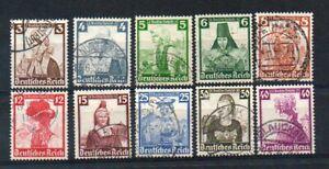 Deutsches-Reich-Nr-588-597-gestempelt-Nothilfe-Trachten-1935