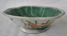 19th c. Chinese Famille Verte Octagonal Bowl Turquoise Interior, Signed