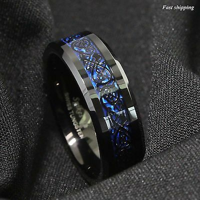 8Mm Tungsten Carbide Ring Black Celtic Dragon Blue carbon fibre Mens Jewelry