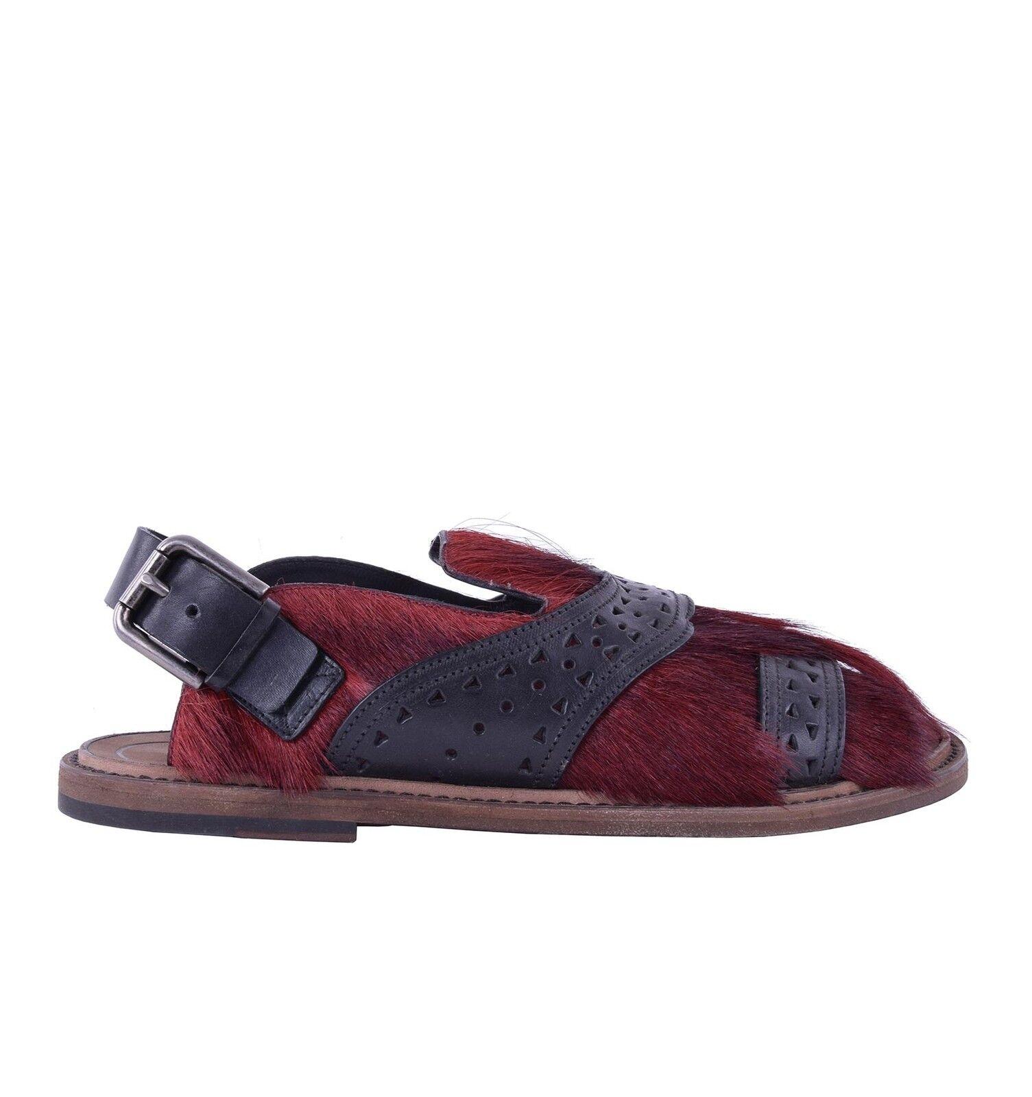 DOLCE & GABBANA Pelz Sandalen Schuhe VESUVIO Rot Schwarz Fur Sandals 05226