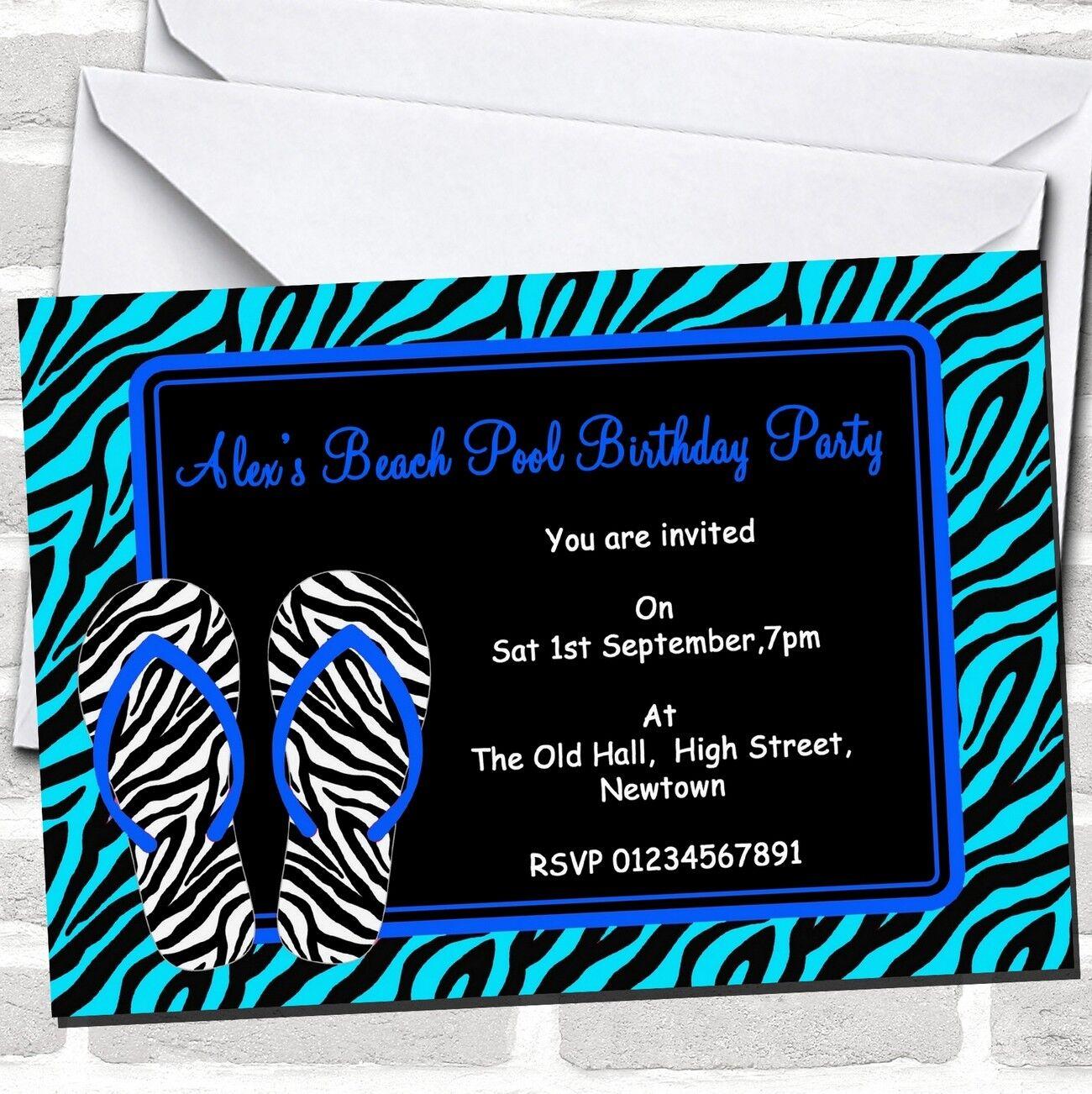 Blau Pool Flip Flop Beach Swimming Theme Birthday Party Invitations E3f058