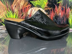 NAOT-Dream-Black-Patent-Leather-Slip-On-Mule-Clog-Shoes-Womens-Size-39-L8