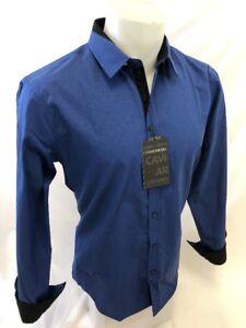 Mens-CAVIAR-DREMES-Designer-Shirt-Woven-BLUE-Roar-With-Class-ABSTRACT-4640-NWT