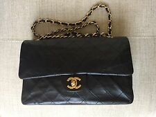 Auth CHANEL Quilted Medium Double Flap CC Gold Chain Lambskin Leather VTG