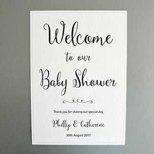 Image Is Loading A4 Personalised Sign Welcome To Our Baby Shower