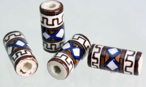 Indian Tube     Glazed Ceramic Beads   Hair Beads or Crafts  *V01019 X 10 BEADS