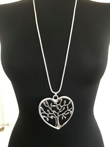 Large-Silver-Heart-Shape-Tree-of-Life-Pendant-Long-Necklace-Lagenlook-Jewellery