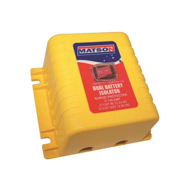 Matson Dual Battery Isolator ( VSR ) 12 volt 140 amp with Override Switch