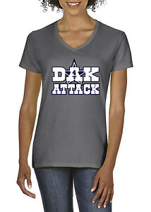 7671a59f Details about CHARCOAL Women's V-Neck Dak Prescott Dallas Cowboys