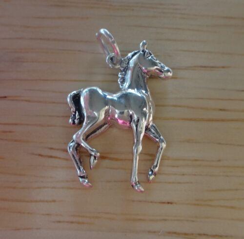 Sterling Silver 21x15mm Mignon Cheval Colt Concave sur le dos