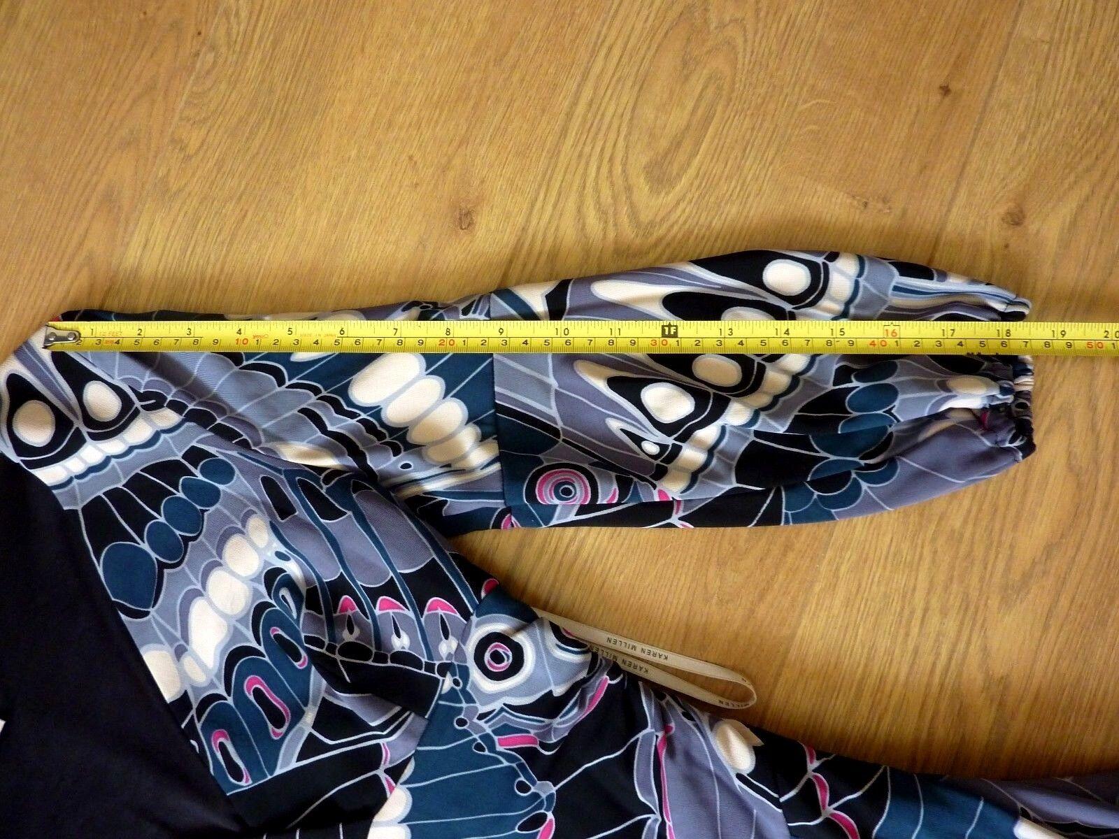KAREN MILLEN Ladies Butterfly Pattern Stretchy Dress Größe UK 10 10 10 EU 38 US 6 faa5d4