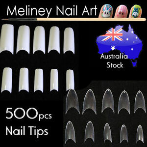 Details about 500 Pcs Fake French Nail Tips White Clear Stiletto False Gel  Pointy Art Acrylic