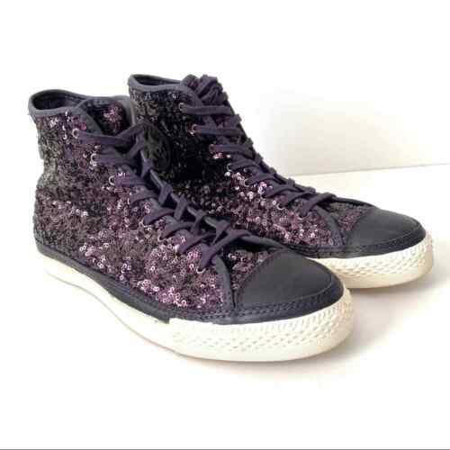 Converse All Star Purple Sequin High-tops size 10
