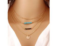Glitz Multilayer Chain Necklace Steampunk Bohemia Blue Bead Body Chain Necklace