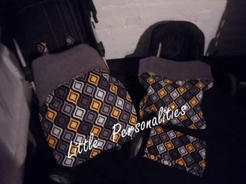black white yellow grey pram stay put blanket//footmuff or carseat blanket