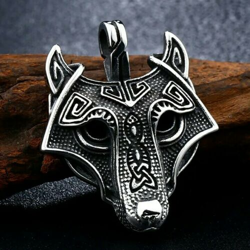 Edelstahl Anhänger Odins Wolf Geri Freki inklusive  Edelstahlkette 60cm