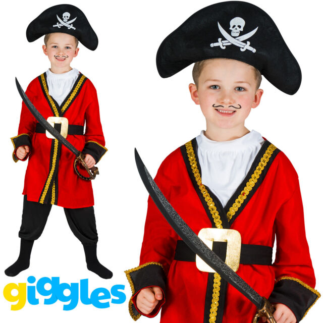 Captain Hook Boy/'s Fancy Dress Book Week Pirate Kids Child Costume Outfit Hat