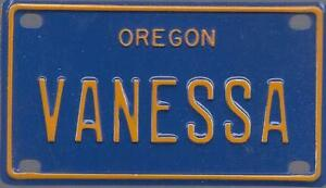 VANESSA Blue Oregon - Mini License Plate - Name Tag ...