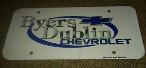 Details About Chevy Dealer License Plate Byers Dublin Chevrolet Grove City Ohio Dealership