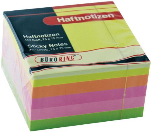2x Haftnotiz-Klotz bunt sortiert 75 x 75 mm Haftnotizen Würfel farbig 2x450Blatt
