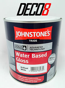 Johnstone 39 s trade aqua water based gloss paint brilliant for Exterior water based paint