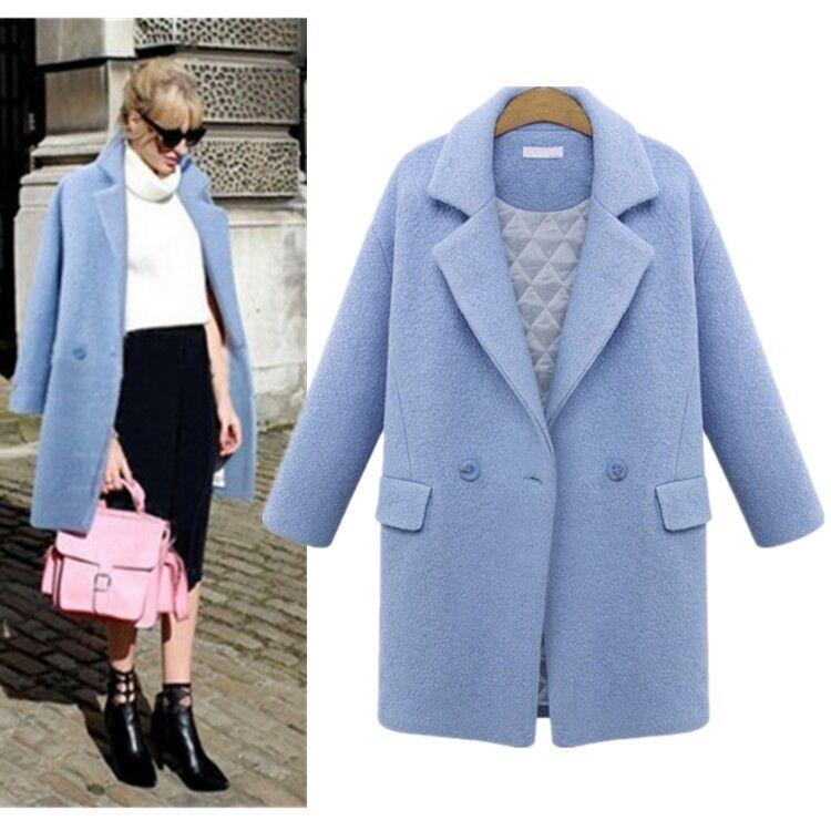 Damen Kaschmir langen Wintermantel Wolle Kragen Outwear Jacke Mantel Parka