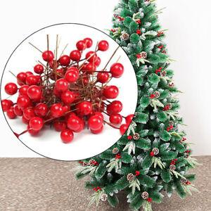 100X-Rot-Beeren-Kuenstliche-Stechpalme-8mm-DIY-Weihnachtsbaum-Kranz-Hochzeit-Deko