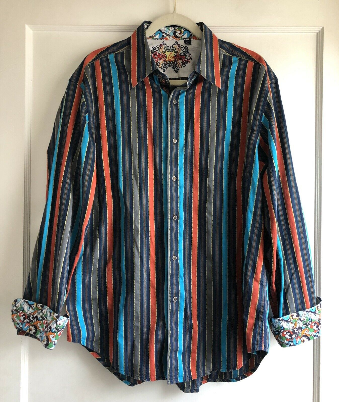 Robert Graham bluee orange Wild Stripe Flip Cuff Sport Dress Shirt Size XL