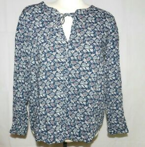 Tom Floral Blouse Button Tailor Tie Collar Navy Front Double Shirt dWxBeEroQC