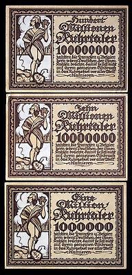 CHOICE CRISP UNCIRC 2 LG RARE COLORFUL WW1 GERMAN EMPIRE BANKNOTES FROM HAMBURG