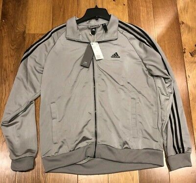 Adidas Men's Essential 3 Stripes Tricot Track Jacket Grey Black Bs2226 L Xl 2xl