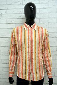 Camicia-Uomo-SASH-Taglia-M-Maglia-Shirt-Man-Maniche-Lunga-Cotone-a-Righe-Italy