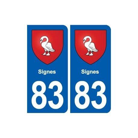 83 Signes blason autocollant plaque stickers ville -  Angles : arrondis