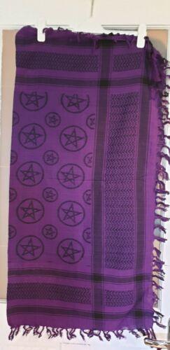 Ladies Brand New Purple with Stars Square Cotton Scarf
