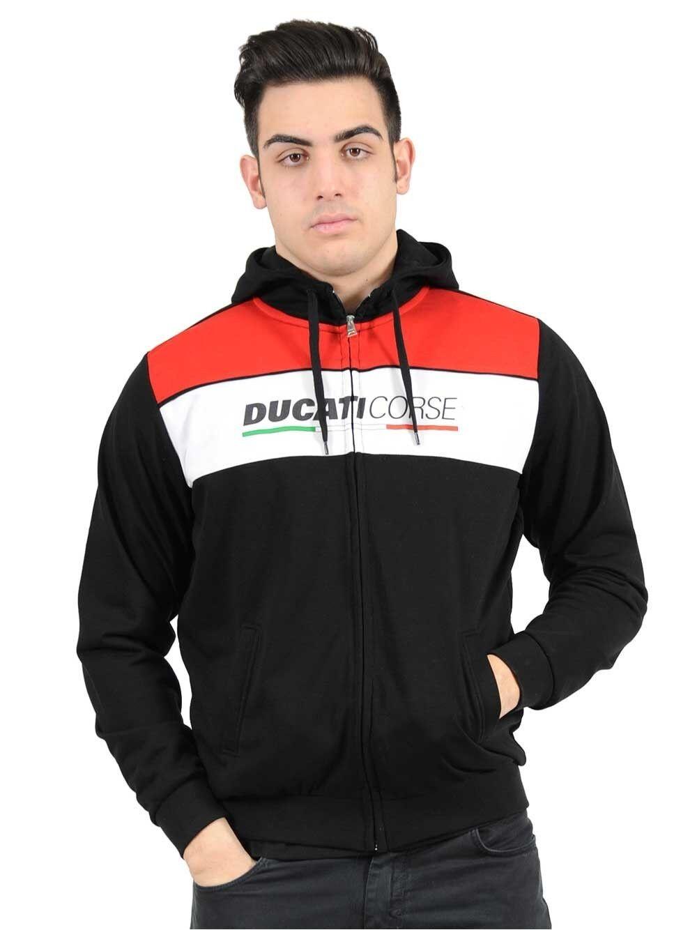 Official Ducati Corse Schwarz Reißverschluss Kapuze - 16 26005
