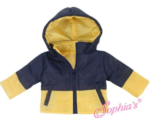 "18/"" Dolls Navy /& Yellow Hooded Puffy Coat Fits American Girl Doll Boy Logan!"