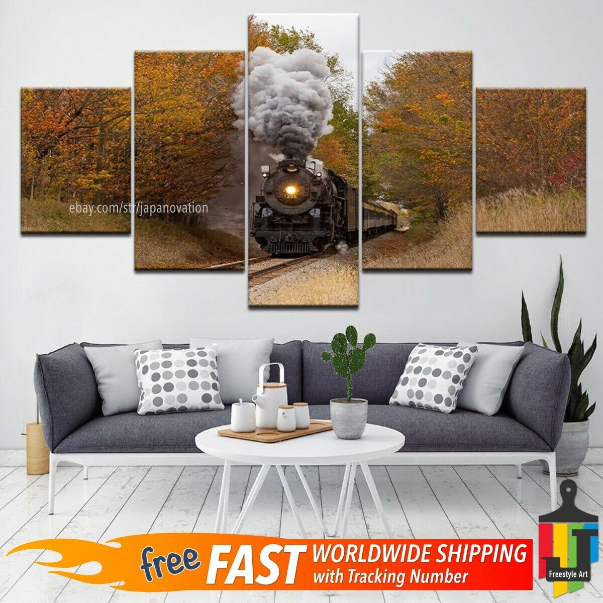 5 Pieces Home Decor Canvas HD Print Retro Steam Train Wall Art Nature Scenery