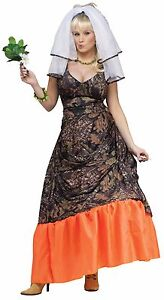 Womens Redneck Bride Costume Camouflage Wedding Dress Green Camo Orange Adult Sm Ebay,2nd Wedding Dresses Older Bride
