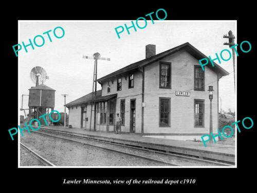 OLD 6 X 4 HISTORIC PHOTO OF LAWLER MINNESOTA, THE RAILROAD DEPOT STATION c1910