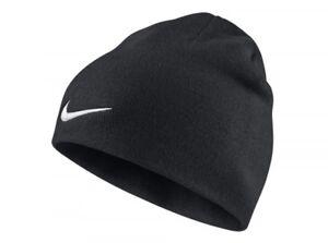 834a08b6c4c Image is loading Nike-Team-Performance-Beanie-Black-Hat-White-Tick-