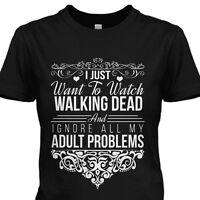 Walking Dead Womens T-shirt Daryl Dixon Rick Carl Shirt Black S-4xl Tv Show