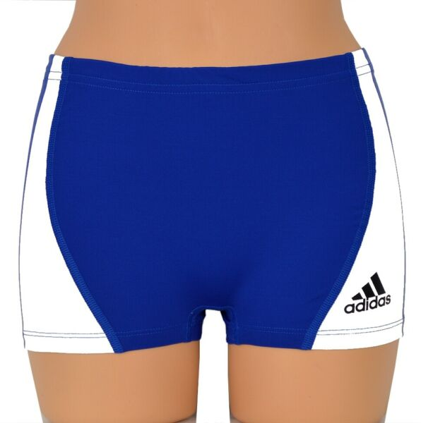 Adidas Damen Hot Pant Short Tight Sport Laufhose Fitness Training Hose blau/weiß