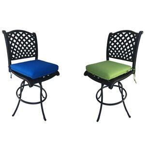 Patio Bar Stools Set of 2 Swivel Outdoor Furniture Cast Aluminum Sunbrella Seats