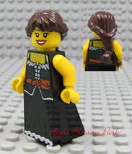 NEW Lego Castle/Pirate Brown Hair FEMALE MINIFIG Green Skirt/Dress Princess Girl
